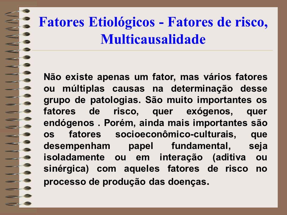 Fatores Etiológicos - Fatores de risco, Multicausalidade Não existe apenas um fator, mas vários fatores ou múltiplas causas na determinação desse grup