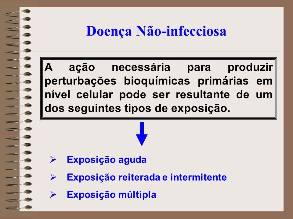 Doença Não-infecciosa A ação necessária para produzir perturbações bioquímicas primárias em nível celular pode ser resultante de um dos seguintes tipo