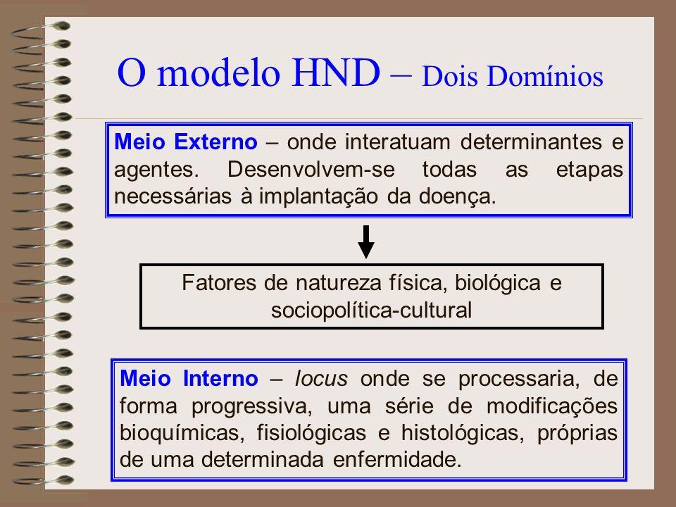 O modelo HND – Dois Domínios Meio Externo – onde interatuam determinantes e agentes. Desenvolvem-se todas as etapas necessárias à implantação da doenç