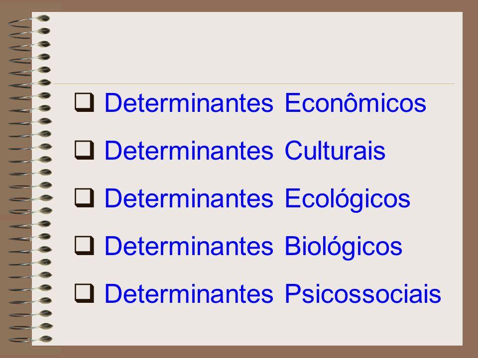 Determinantes Econômicos Determinantes Culturais Determinantes Ecológicos Determinantes Biológicos Determinantes Psicossociais