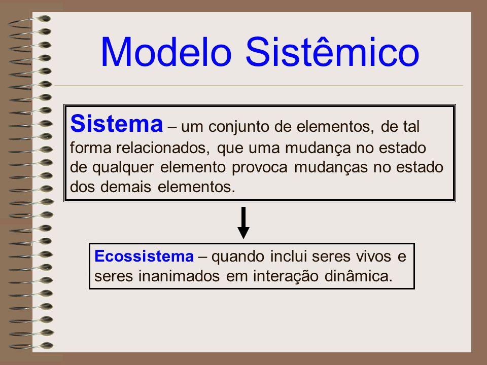 Modelo Sistêmico Sistema – um conjunto de elementos, de tal forma relacionados, que uma mudança no estado de qualquer elemento provoca mudanças no est