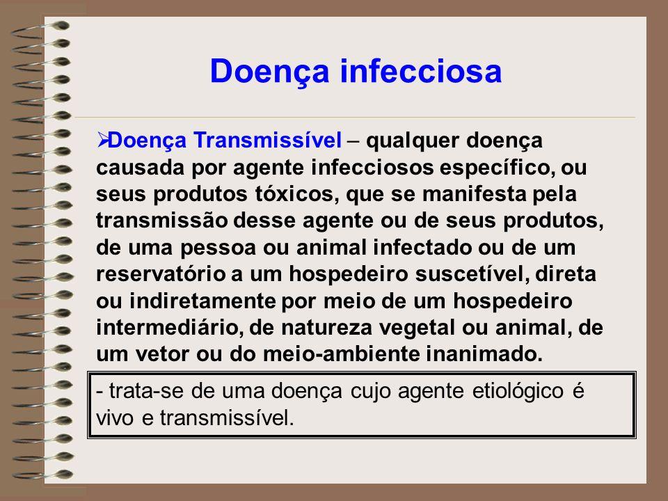 Doença infecciosa Doença Transmissível – qualquer doença causada por agente infecciosos específico, ou seus produtos tóxicos, que se manifesta pela tr