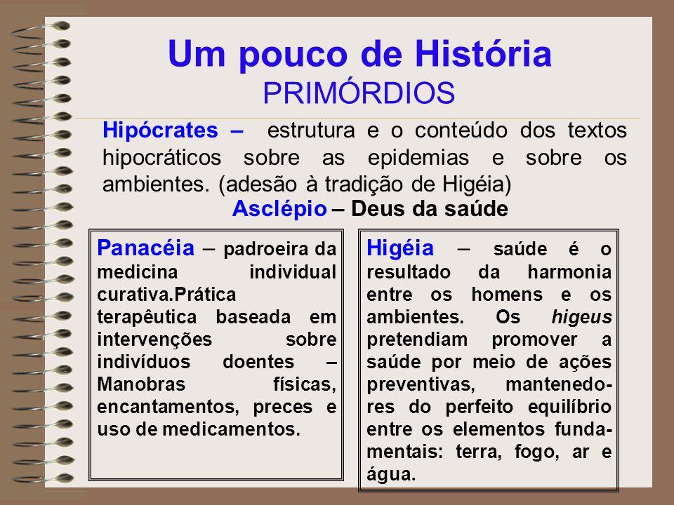 Um pouco de História PRIMÓRDIOS Hipócrates – estrutura e o conteúdo dos textos hipocráticos sobre as epidemias e sobre os ambientes. (adesão à tradiçã