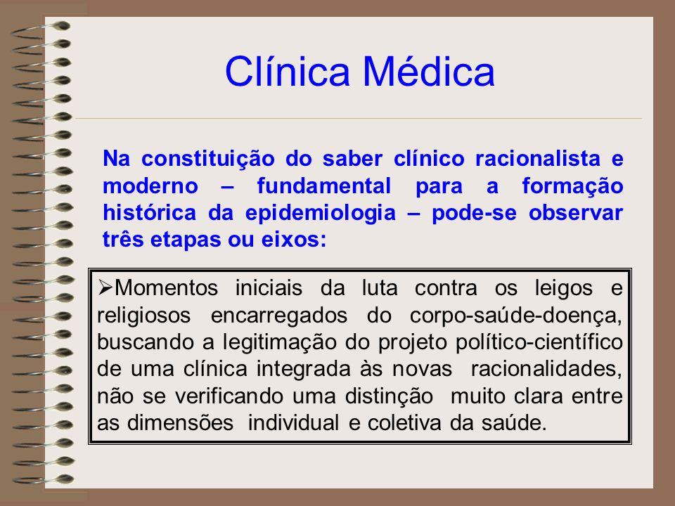 Clínica Médica Na constituição do saber clínico racionalista e moderno – fundamental para a formação histórica da epidemiologia – pode-se observar trê