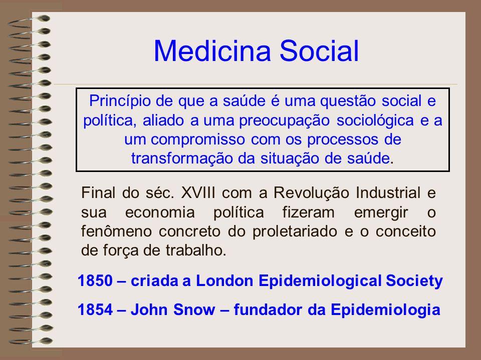 Medicina Social Princípio de que a saúde é uma questão social e política, aliado a uma preocupação sociológica e a um compromisso com os processos de