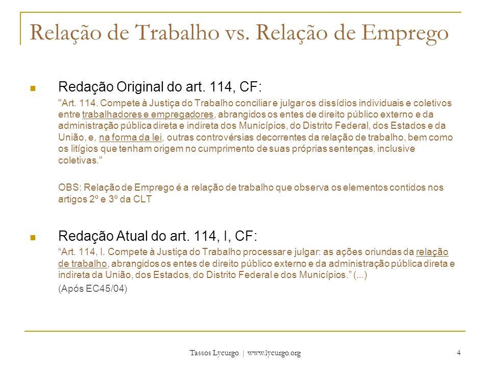 Tassos Lycurgo | www.lycurgo.org 5 Relação de Trabalho vs.