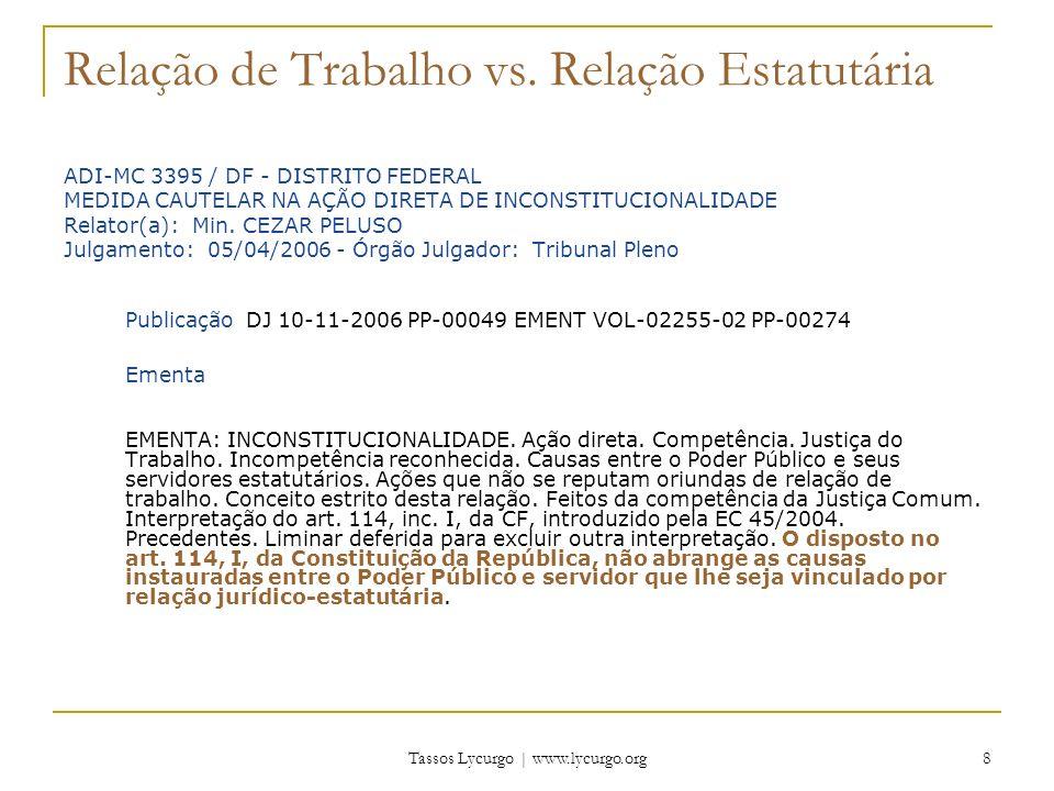 Tassos Lycurgo | www.lycurgo.org 29 CF, art.114, §3º Art.