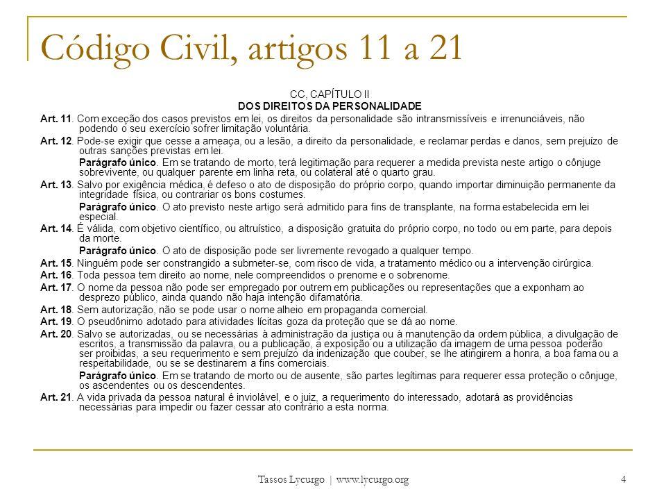 Tassos Lycurgo | www.lycurgo.org 4 Código Civil, artigos 11 a 21 CC, CAPÍTULO II DOS DIREITOS DA PERSONALIDADE Art. 11. Com exceção dos casos previsto