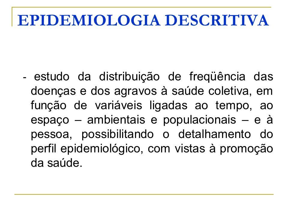EPIDEMIOLOGIA DESCRITIVA - estudo da distribuição de freqüência das doenças e dos agravos à saúde coletiva, em função de variáveis ligadas ao tempo, a