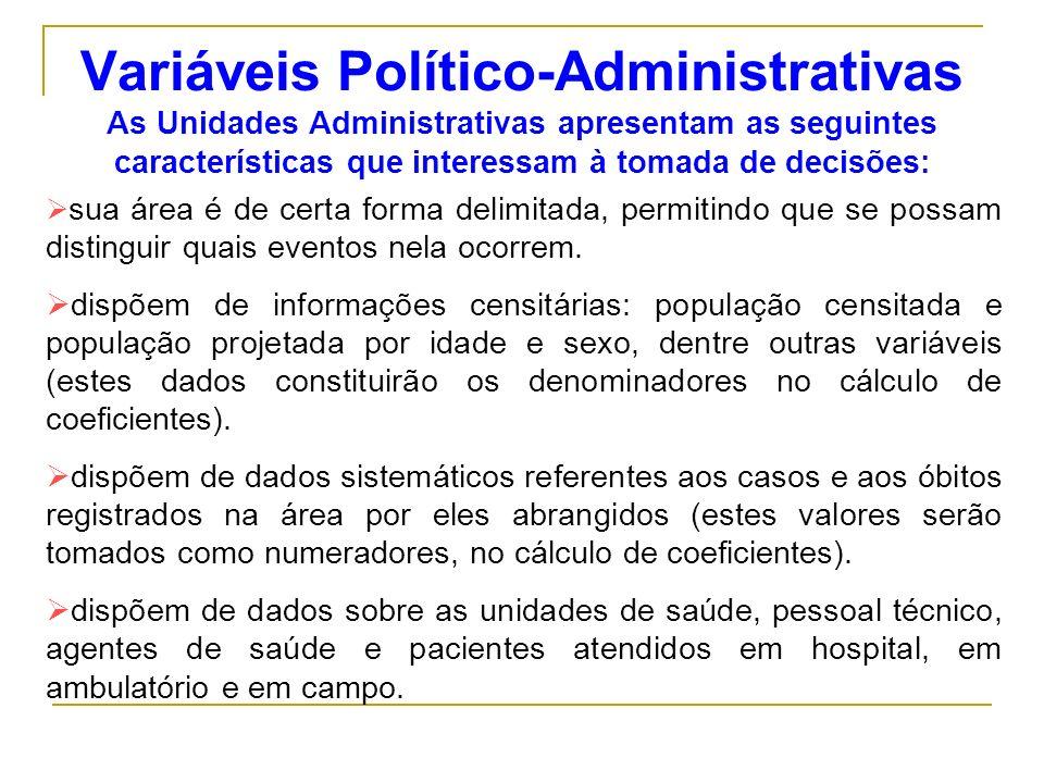 Variáveis Político-Administrativas As Unidades Administrativas apresentam as seguintes características que interessam à tomada de decisões: sua área é