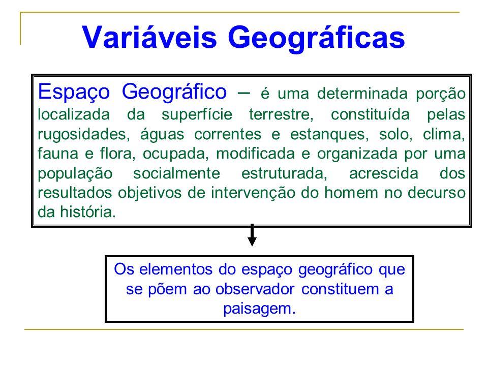 Variáveis Geográficas Espaço Geográfico – é uma determinada porção localizada da superfície terrestre, constituída pelas rugosidades, águas correntes