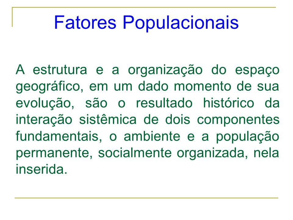 Fatores Populacionais A estrutura e a organização do espaço geográfico, em um dado momento de sua evolução, são o resultado histórico da interação sis