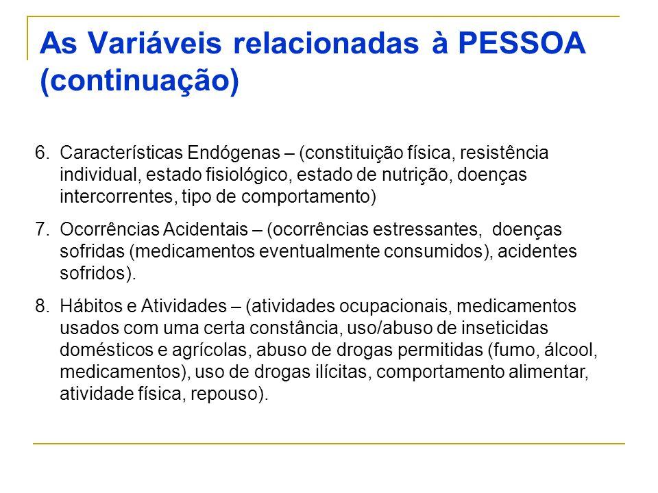 6.Características Endógenas – (constituição física, resistência individual, estado fisiológico, estado de nutrição, doenças intercorrentes, tipo de co