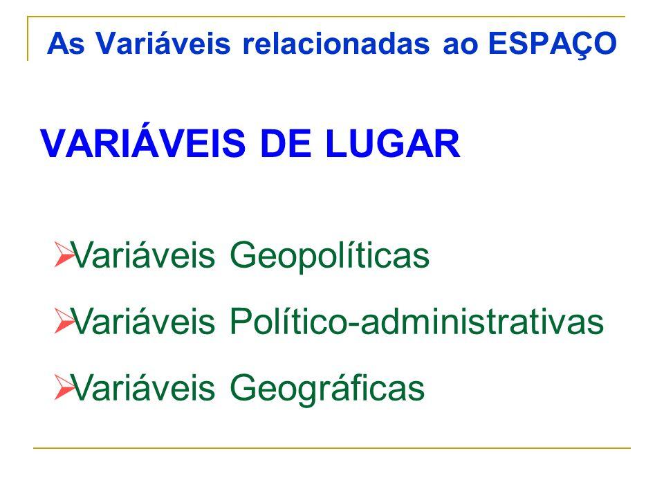 As Variáveis relacionadas ao ESPAÇO VARIÁVEIS DE LUGAR Variáveis Geopolíticas Variáveis Político-administrativas Variáveis Geográficas