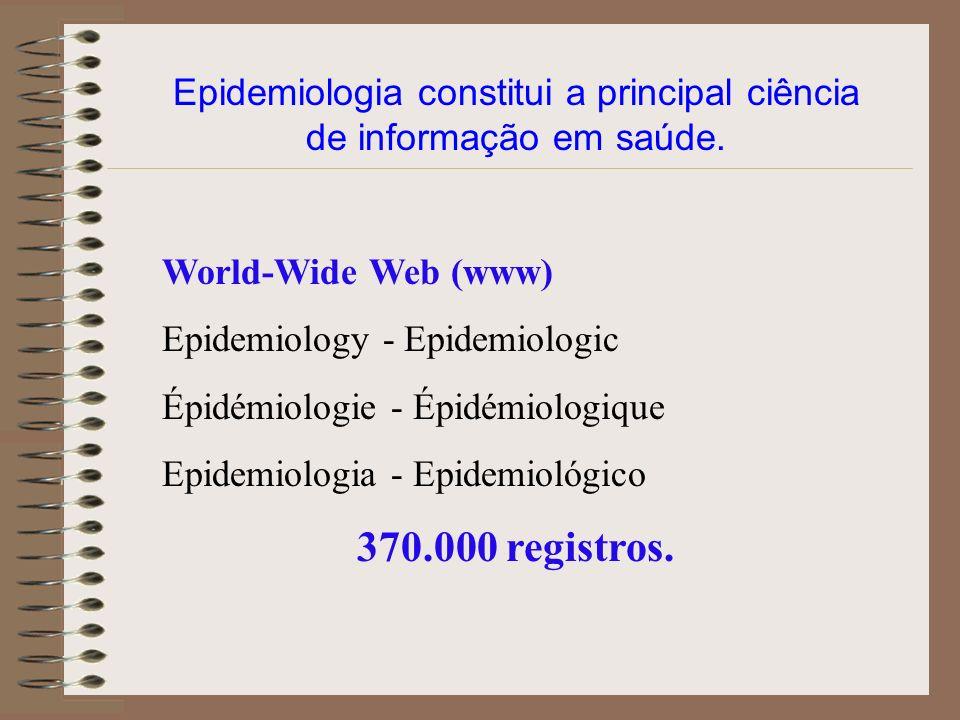 Epidemiologia constitui a principal ciência de informação em saúde. World-Wide Web (www) Epidemiology - Epidemiologic Épidémiologie - Épidémiologique
