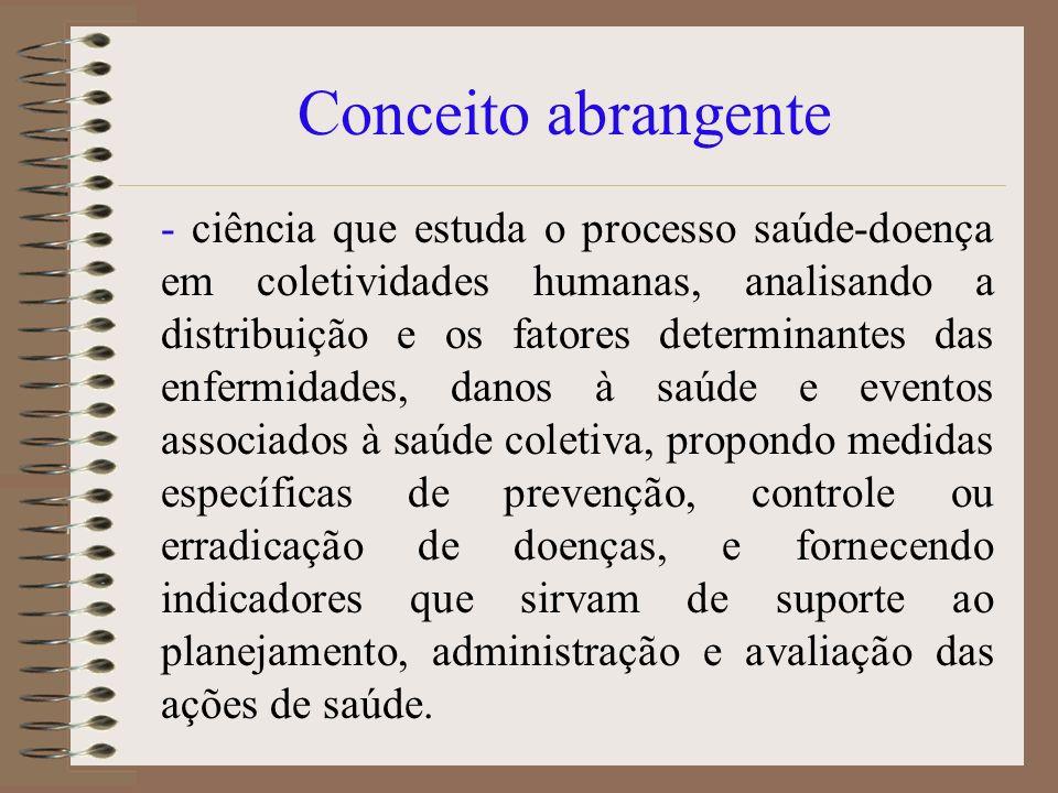 Conceito abrangente - ciência que estuda o processo saúde-doença em coletividades humanas, analisando a distribuição e os fatores determinantes das en