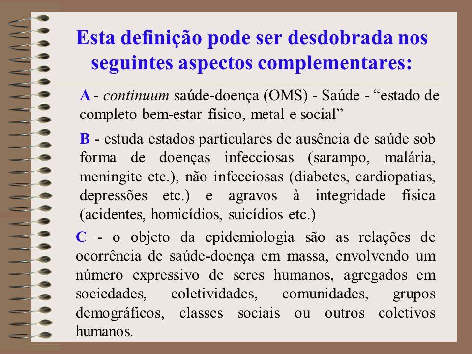 Esta definição pode ser desdobrada nos seguintes aspectos complementares: A - continuum saúde-doença (OMS) - Saúde - estado de completo bem-estar físi