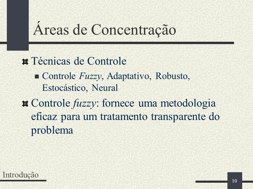 10 Áreas de Concentração Técnicas de Controle Controle Fuzzy, Adaptativo, Robusto, Estocástico, Neural Controle fuzzy: fornece uma metodologia eficaz