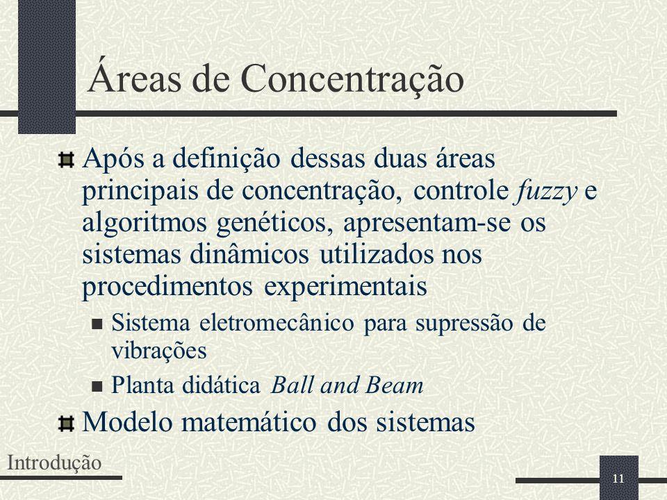 11 Áreas de Concentração Após a definição dessas duas áreas principais de concentração, controle fuzzy e algoritmos genéticos, apresentam-se os sistem
