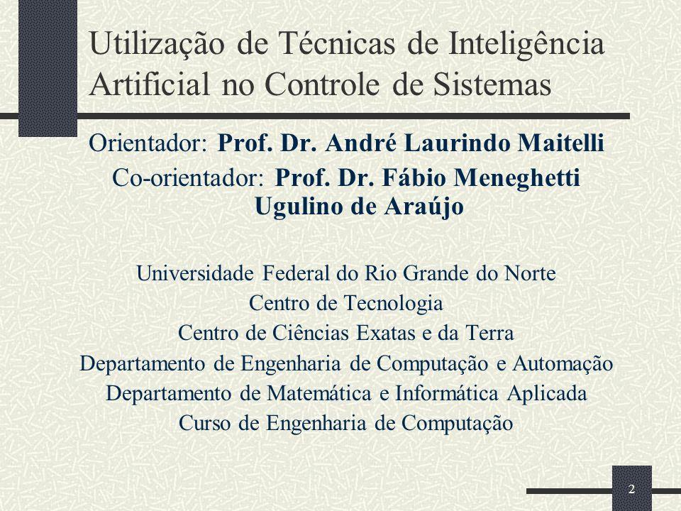 2 Utilização de Técnicas de Inteligência Artificial no Controle de Sistemas Orientador: Prof. Dr. André Laurindo Maitelli Co-orientador: Prof. Dr. Fáb