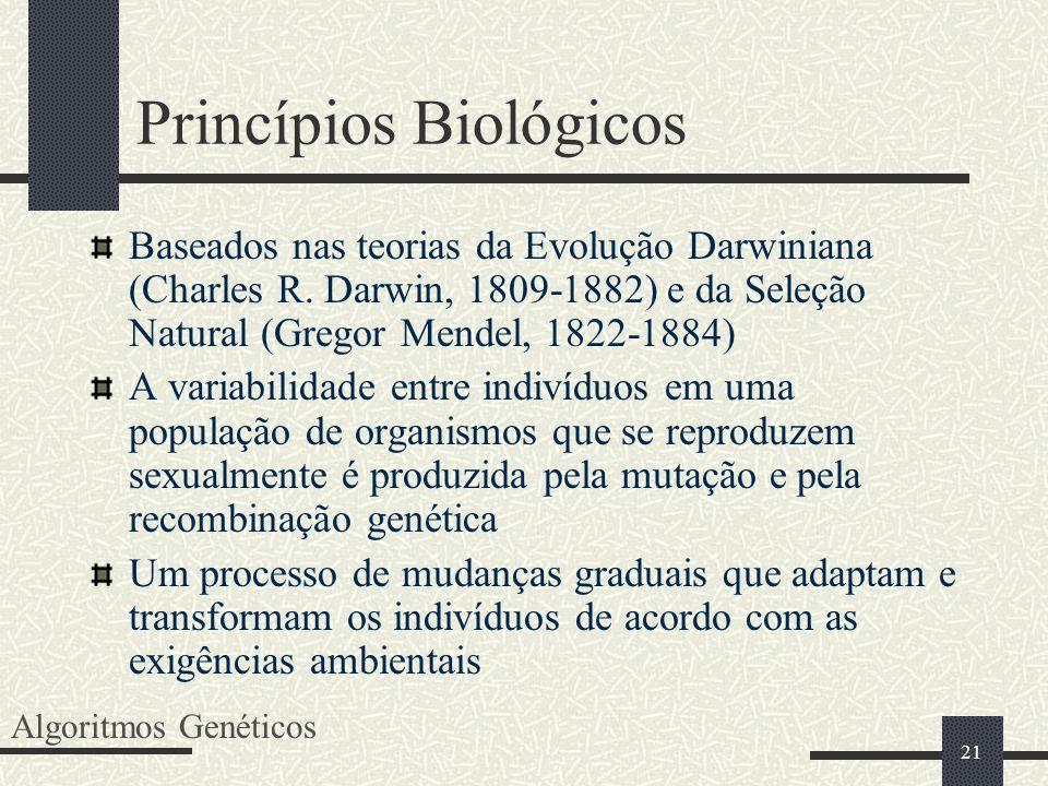 21 Princípios Biológicos Baseados nas teorias da Evolução Darwiniana (Charles R. Darwin, 1809-1882) e da Seleção Natural (Gregor Mendel, 1822-1884) A