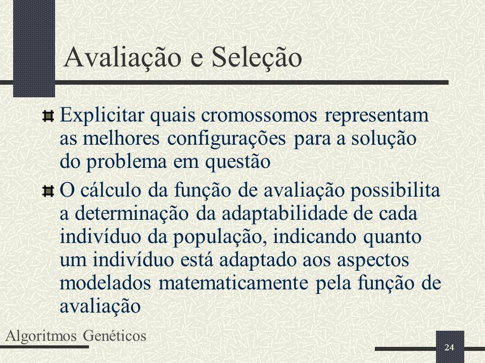 24 Avaliação e Seleção Explicitar quais cromossomos representam as melhores configurações para a solução do problema em questão O cálculo da função de