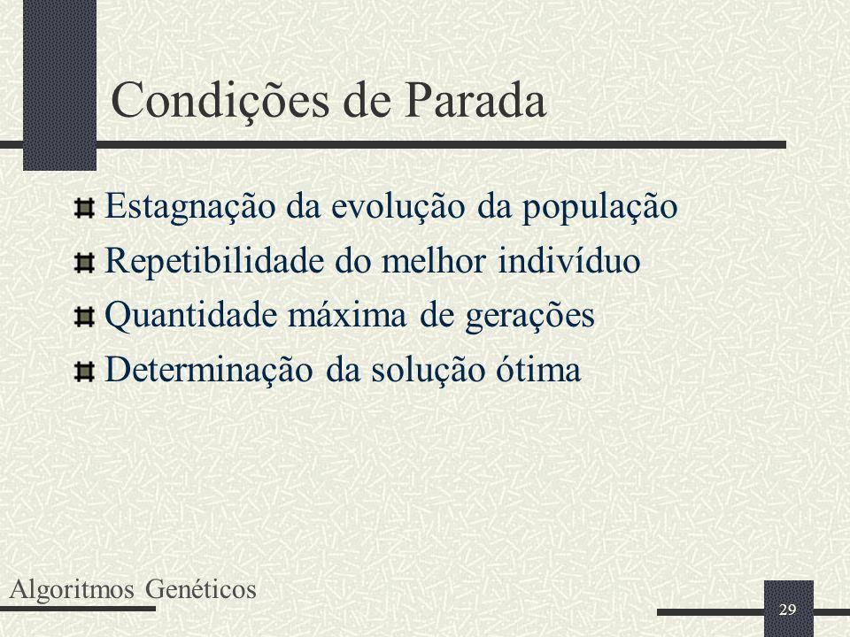 29 Condições de Parada Estagnação da evolução da população Repetibilidade do melhor indivíduo Quantidade máxima de gerações Determinação da solução ót