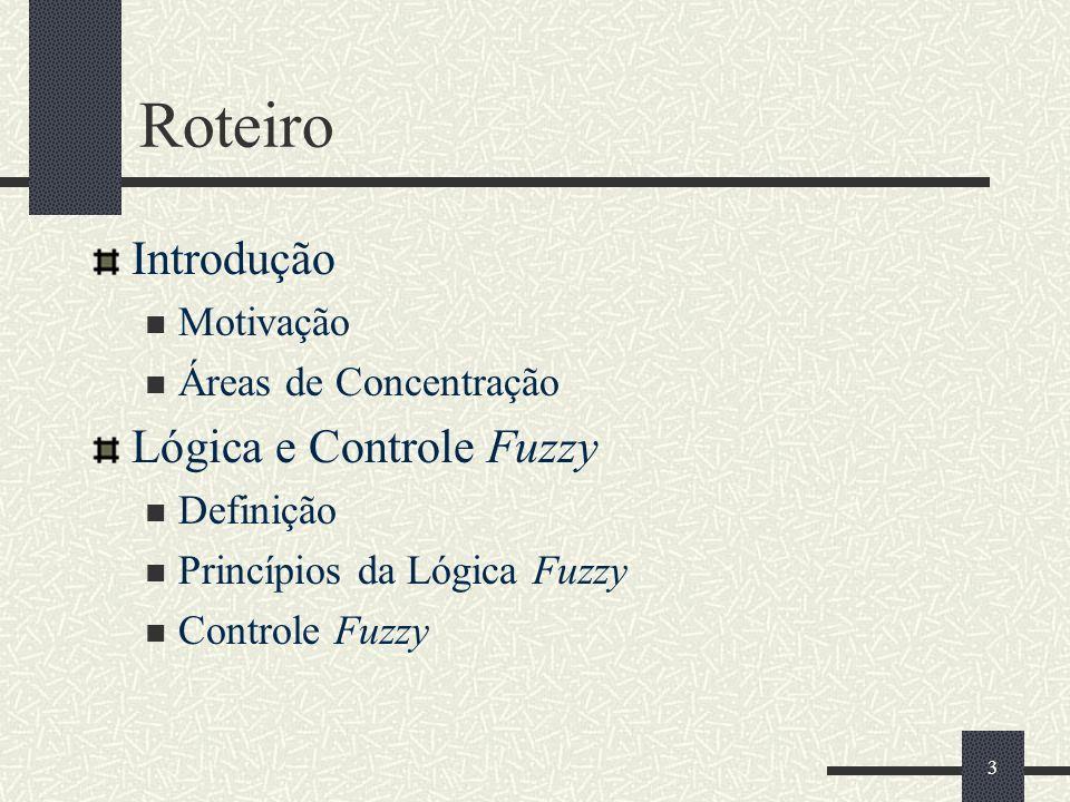14 Princípios da Lógica Fuzzy Seus fundamentos advêm da teoria dos conjuntos fuzzy, criada por Lofti Zadeh Variável lingüística Mnemônicos: erro, temperatura ou variação da pressão Termos lingüísticos Quantificadores: aproximadamente zero, positivo pequeno, grande negativo Lógica e Controle Fuzzy