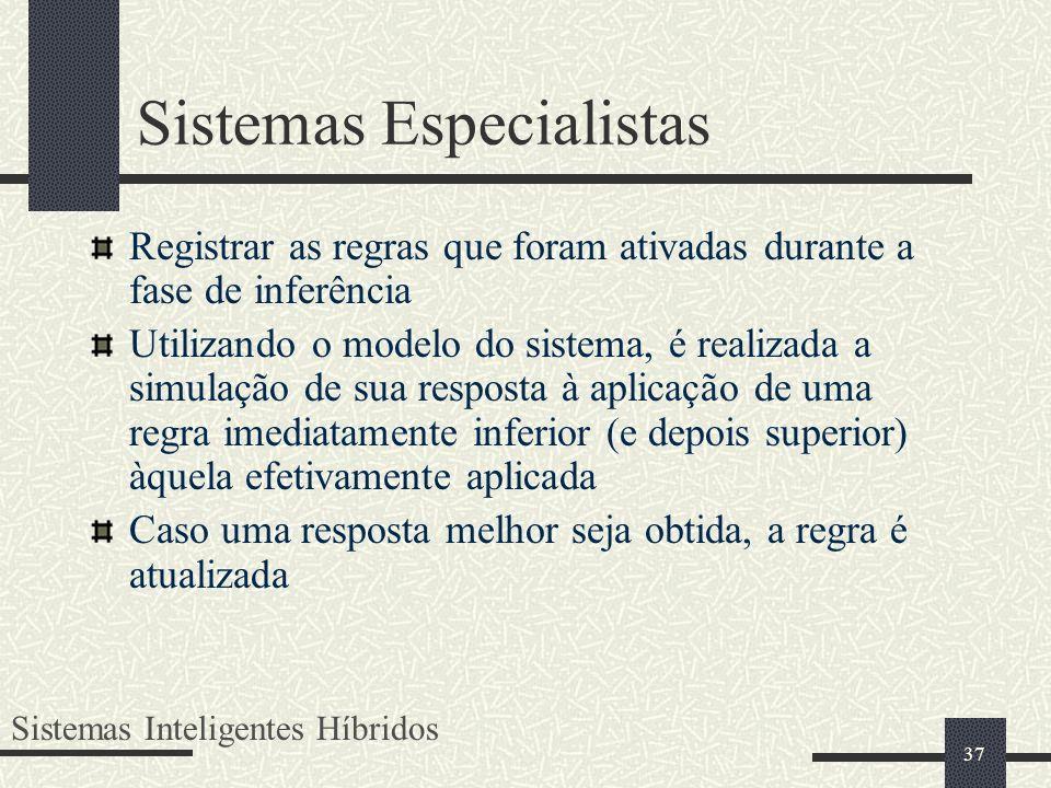 37 Sistemas Especialistas Registrar as regras que foram ativadas durante a fase de inferência Utilizando o modelo do sistema, é realizada a simulação