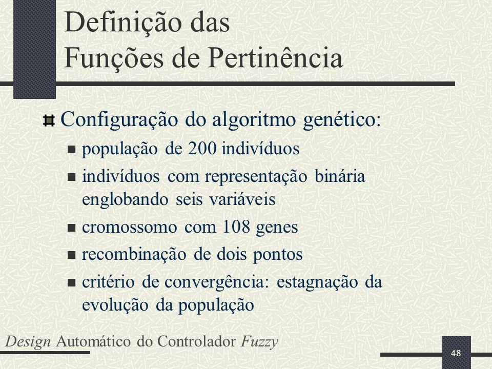 48 Definição das Funções de Pertinência Configuração do algoritmo genético: população de 200 indivíduos indivíduos com representação binária engloband