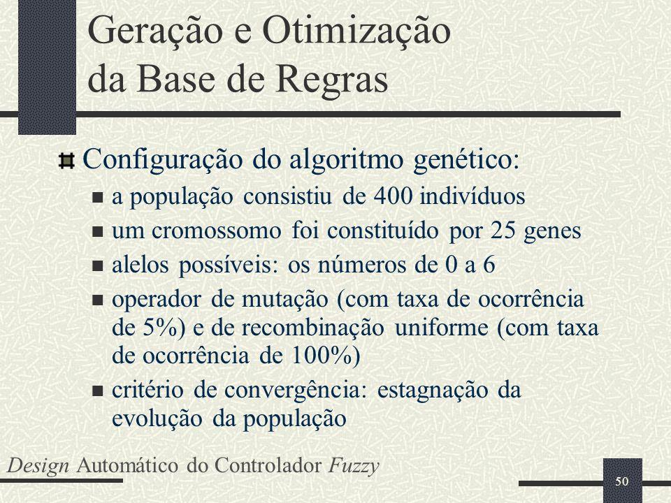 50 Geração e Otimização da Base de Regras Configuração do algoritmo genético: a população consistiu de 400 indivíduos um cromossomo foi constituído po