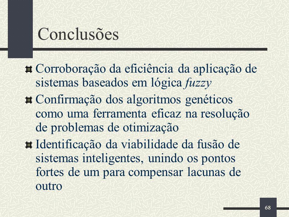 68 Conclusões Corroboração da eficiência da aplicação de sistemas baseados em lógica fuzzy Confirmação dos algoritmos genéticos como uma ferramenta ef