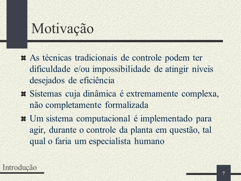 7 Motivação As técnicas tradicionais de controle podem ter dificuldade e/ou impossibilidade de atingir níveis desejados de eficiência Sistemas cuja di