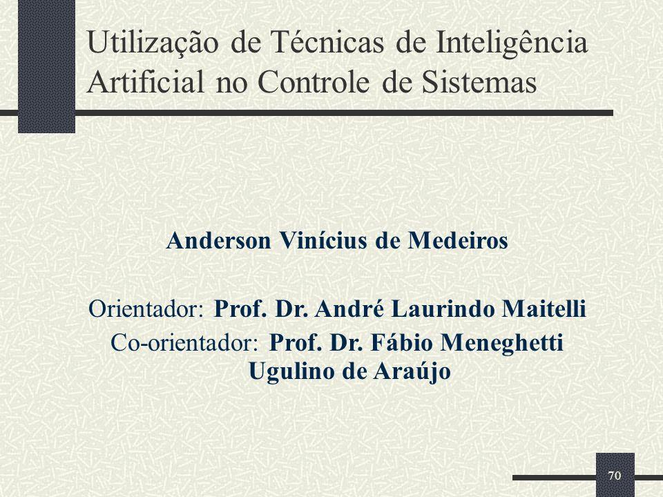 70 Utilização de Técnicas de Inteligência Artificial no Controle de Sistemas Anderson Vinícius de Medeiros Orientador: Prof. Dr. André Laurindo Maitel