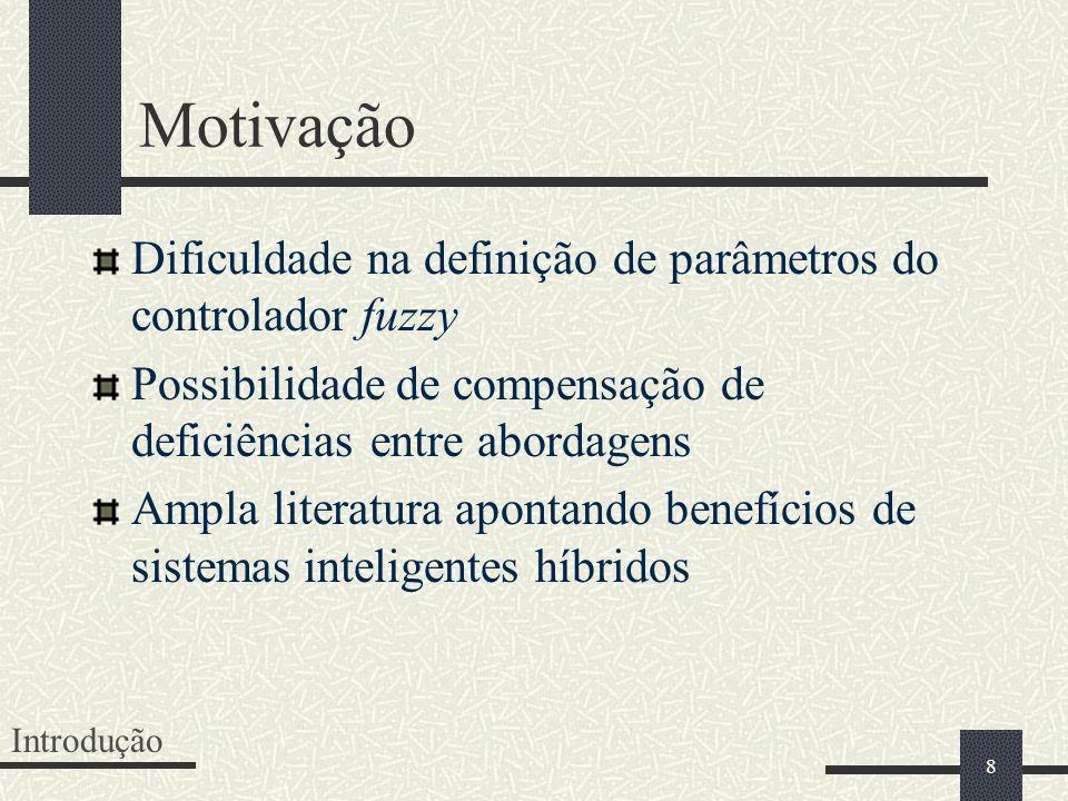 8 Motivação Dificuldade na definição de parâmetros do controlador fuzzy Possibilidade de compensação de deficiências entre abordagens Ampla literatura