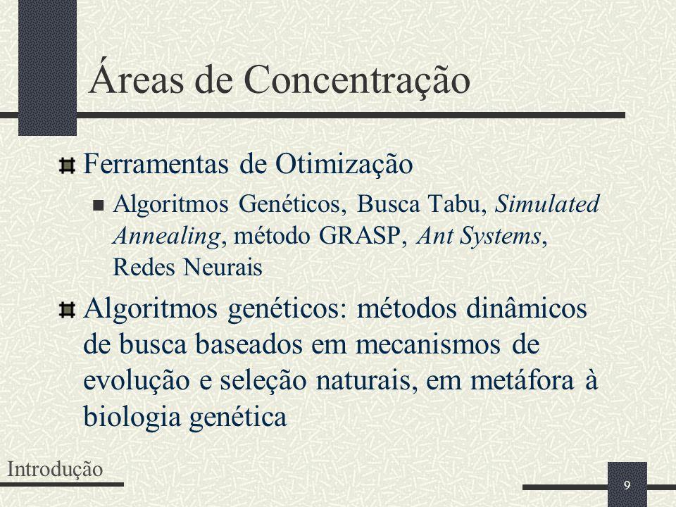 9 Áreas de Concentração Ferramentas de Otimização Algoritmos Genéticos, Busca Tabu, Simulated Annealing, método GRASP, Ant Systems, Redes Neurais Algo