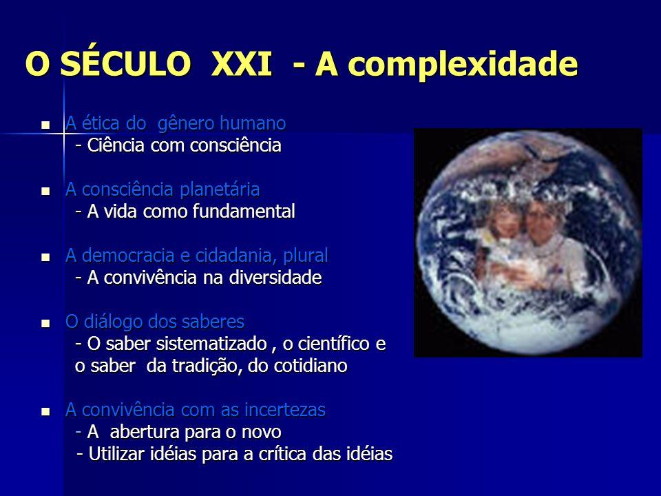 O SÉCULO XXI - A complexidade A ética do gênero humano A ética do gênero humano - Ciência com consciência - Ciência com consciência A consciência plan