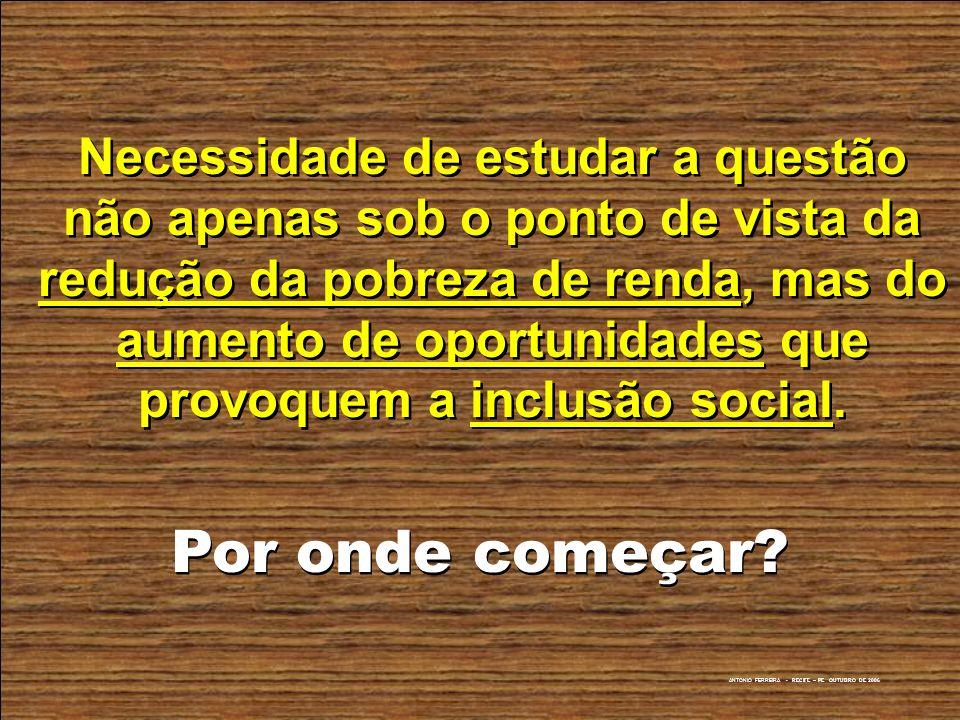 ANTONIO FERREIRA - RECIFE – PE OUTUBRO DE 2006 Necessidade de estudar a questão não apenas sob o ponto de vista da redução da pobreza de renda, mas do