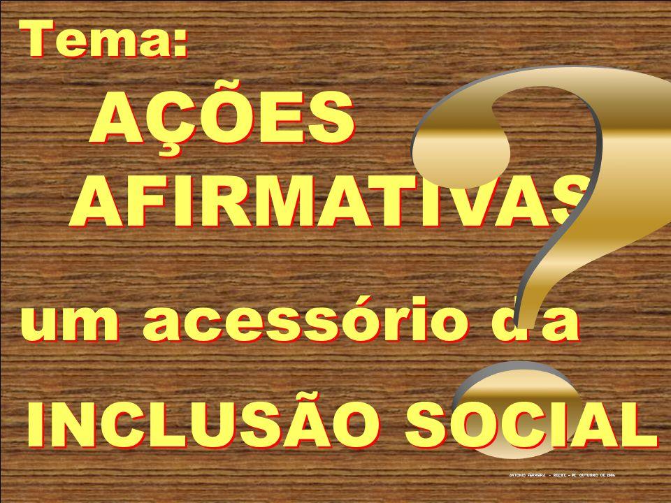 um acessório d a AÇÕES AFIRMATIVAS Tema: INCLUSÃO SOCIAL