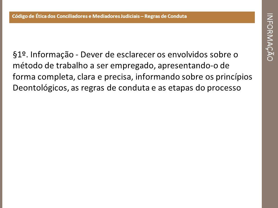 INFORMAÇÃO Código de Ética dos Conciliadores e Mediadores Judiciais – Regras de Conduta §1º. Informação - Dever de esclarecer os envolvidos sobre o mé
