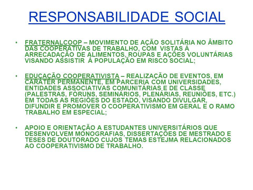 RESPONSABILIDADE SOCIAL FRATERNALCOOP – MOVIMENTO DE AÇÃO SOLITÁRIA NO ÂMBITO DAS COOPERATIVAS DE TRABALHO, COM VISTAS À ARRECADAÇÃO DE ALIMENTOS, ROU