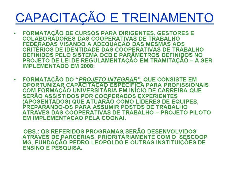 CAPACITAÇÃO E TREINAMENTO FORMATAÇÃO DE CURSOS PARA DIRIGENTES, GESTORES E COLABORADORES DAS COOPERATIVAS DE TRABALHO FEDERADAS VISANDO A ADEQUAÇÃO DA
