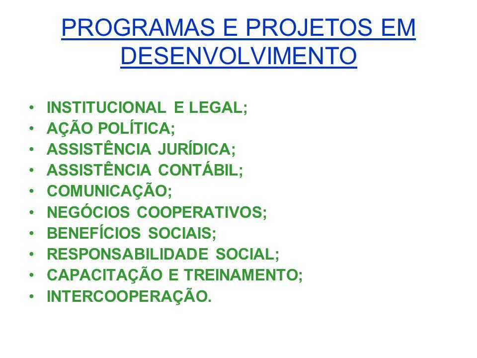 PROGRAMAS E PROJETOS EM DESENVOLVIMENTO INSTITUCIONAL E LEGAL; AÇÃO POLÍTICA; ASSISTÊNCIA JURÍDICA; ASSISTÊNCIA CONTÁBIL; COMUNICAÇÃO; NEGÓCIOS COOPER