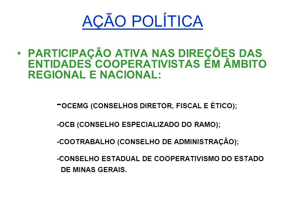 AÇÃO POLÍTICA PARTICIPAÇÃO ATIVA NAS DIREÇÕES DAS ENTIDADES COOPERATIVISTAS EM ÂMBITO REGIONAL E NACIONAL: - OCEMG (CONSELHOS DIRETOR, FISCAL E ÉTICO)