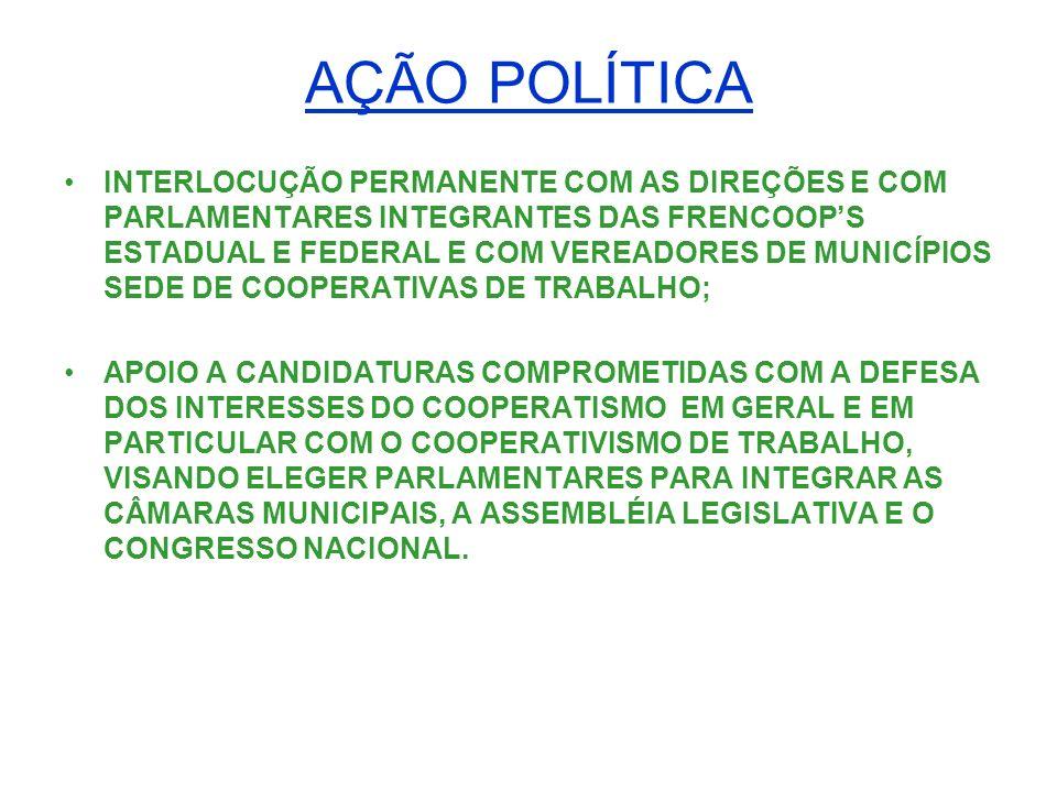 ASSISTÊNCIA JURÍDICA COMITÊ JURÍDICO FORMADO POR ADVOGADOS DAS COOPERATIVAS FEDERADAS COM O OBJETIVO DE ESTABELECER UM PADRÃO DE ATUAÇÃO EM AÇÕES JUDICIAIS; CONSULTORIA JURÍDICA PARA ORIENTAÇÃO E EMISSÃO DE PARECERES ÀS COOPERATIVAS FEDERADAS EM QUESTÕES RELATIVAS AO DIREITO COOPERATIVO, TRIBUTÁRIO E TRABALHISTA, ETC.