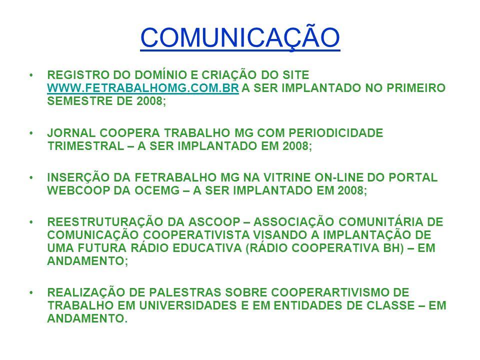 COMUNICAÇÃO REGISTRO DO DOMÍNIO E CRIAÇÃO DO SITE WWW.FETRABALHOMG.COM.BR A SER IMPLANTADO NO PRIMEIRO SEMESTRE DE 2008; WWW.FETRABALHOMG.COM.BR JORNA