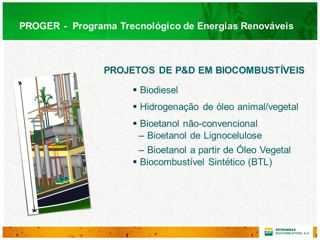 PROGER - Programa Trecnológico de Energias Renováveis PROJETOS DE P&D EM BIOCOMBUSTÍVEIS Biodiesel Hidrogenação de óleo animal/vegetal Bioetanol não-c