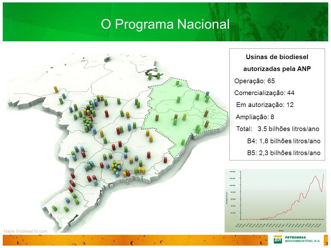 O Programa Nacional Usinas de biodiesel autorizadas pela ANP Operação: 65 Comercialização: 44 Em autorização: 12 Ampliação: 8 Total: 3.5 bilhões litro
