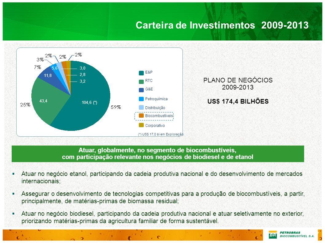Plano Estratégico da Petrobras Biocombustível 2020 Plano de Negócios 2009-2013 Investimentos Investimentos no Brasil 2009-2013: US$ 2.212 milhões (90% dos investimentos totais) Etanol Biodiesel US$ milhões Etanol1.941 Biodiesel480 Total2.421