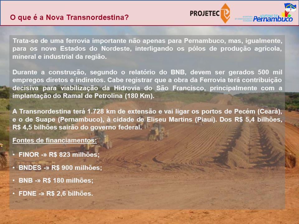 Trata-se de uma ferrovia importante não apenas para Pernambuco, mas, igualmente, para os nove Estados do Nordeste, interligando os pólos de produção a